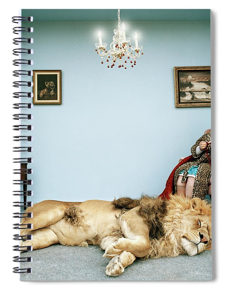 Pets Spiral Notebook featuring the photograph Lion Lying On Rug, Mature Woman Knitting by Matthias Clamer