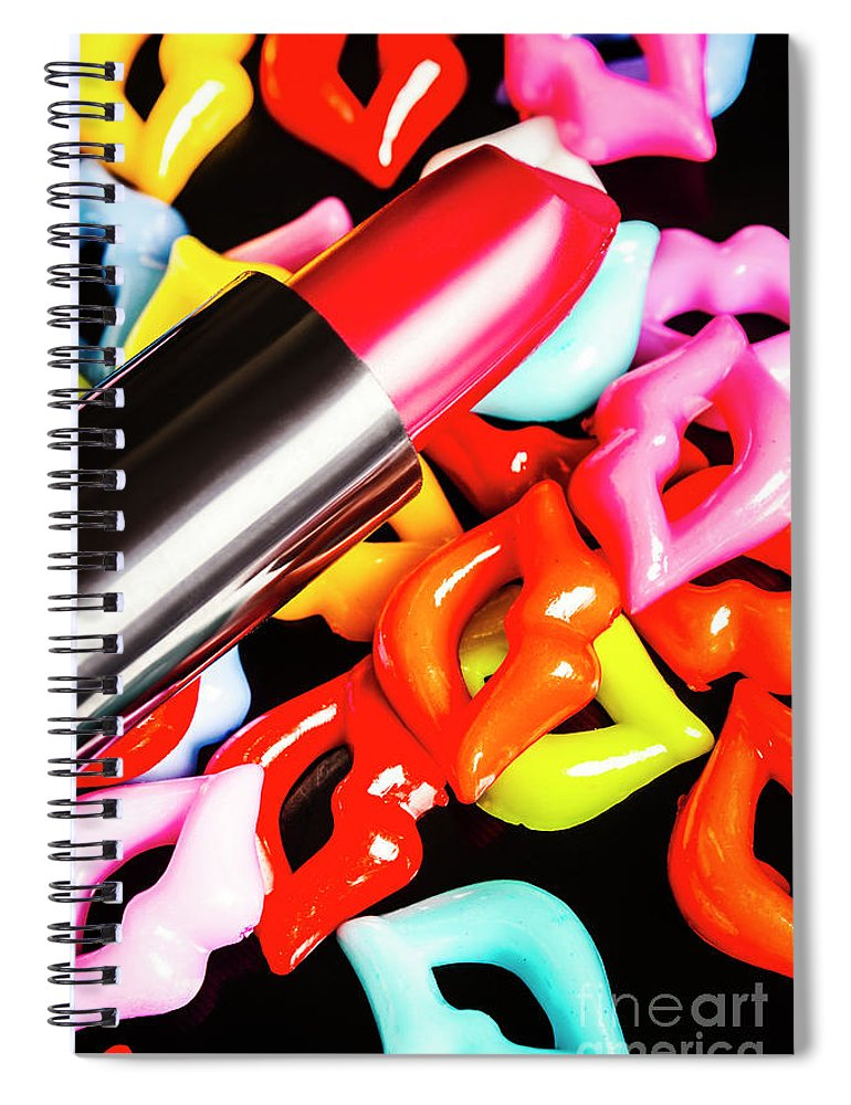 Cosmetics Spiral Notebook featuring the photograph Lip Stack by Jorgo Photography - Wall Art Gallery