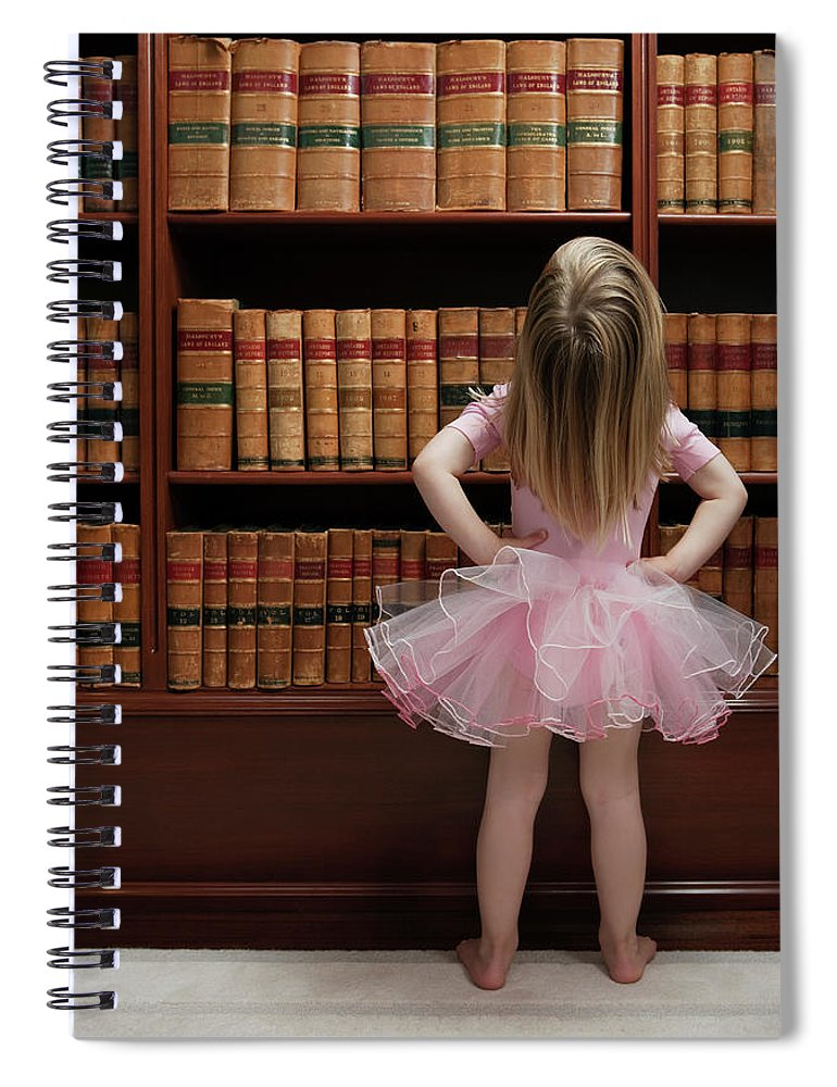 Education Spiral Notebook featuring the photograph Little Girl In Tutu Reading Book Covers by Compassionate Eye Foundation/barry Calhoun