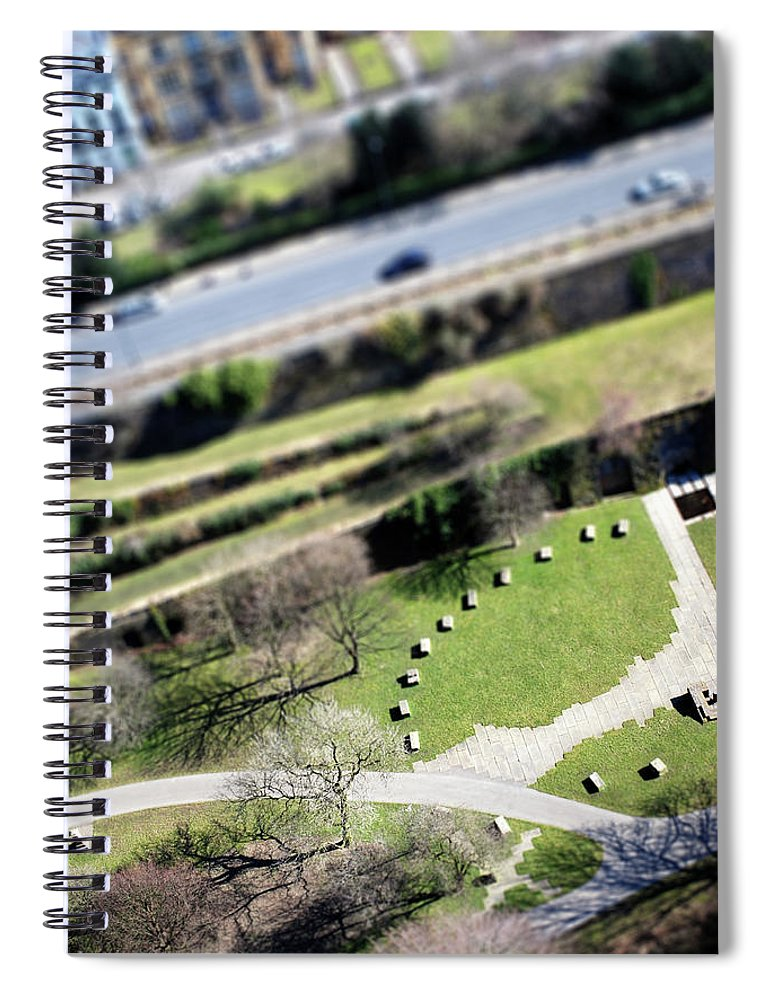 England Spiral Notebook featuring the photograph Liverpool From Above, Tilt-shift Lens by Ilbusca