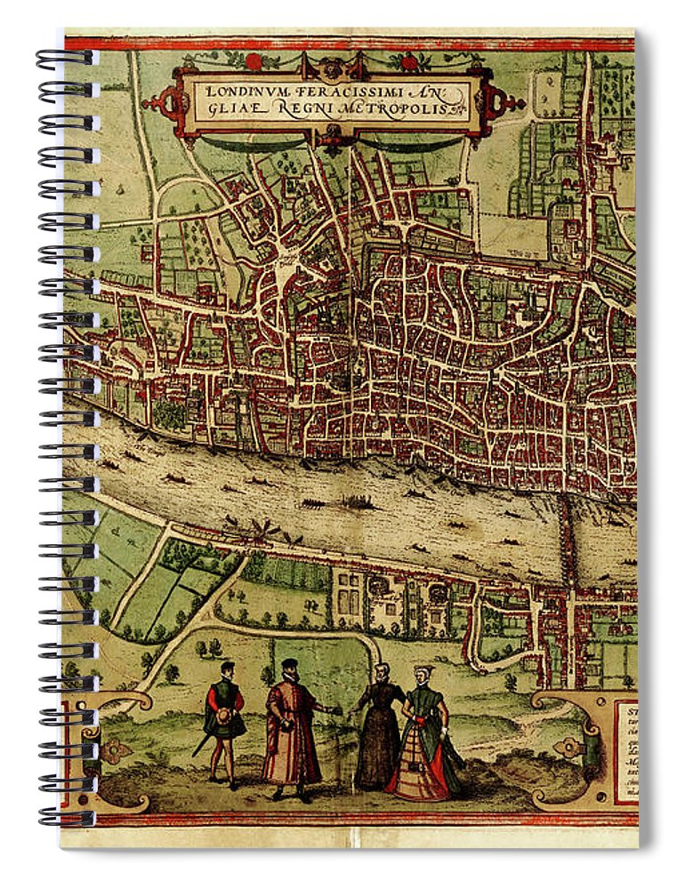 London Millennium Footbridge Spiral Notebook featuring the digital art London Antique View by Nicoolay