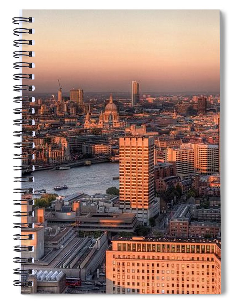 Cityscape Spiral Notebook featuring the photograph London Cityscape At Sunset by Michael Lee