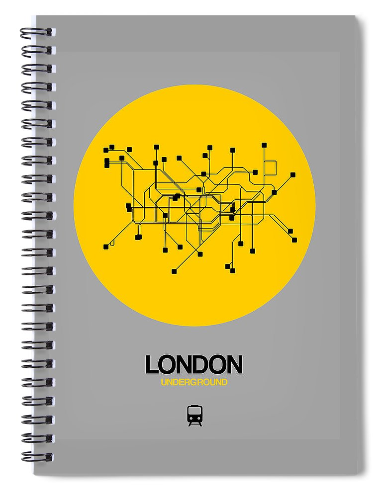 Unique Collection Of Minimalist Subway Maps. American Cities Spiral Notebook featuring the photograph London Yellow Subway Map by Naxart Studio