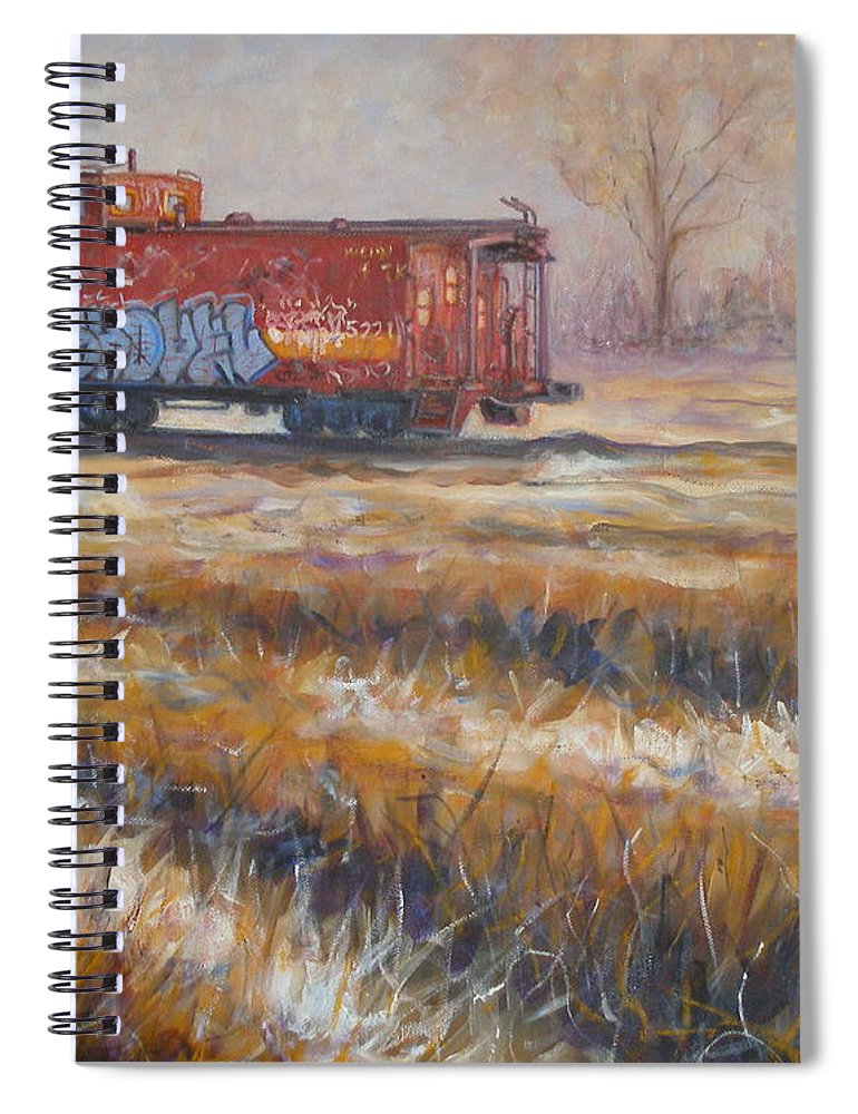 Realism Spiral Notebook featuring the painting Lonely Caboose #2 by Donelli DiMaria
