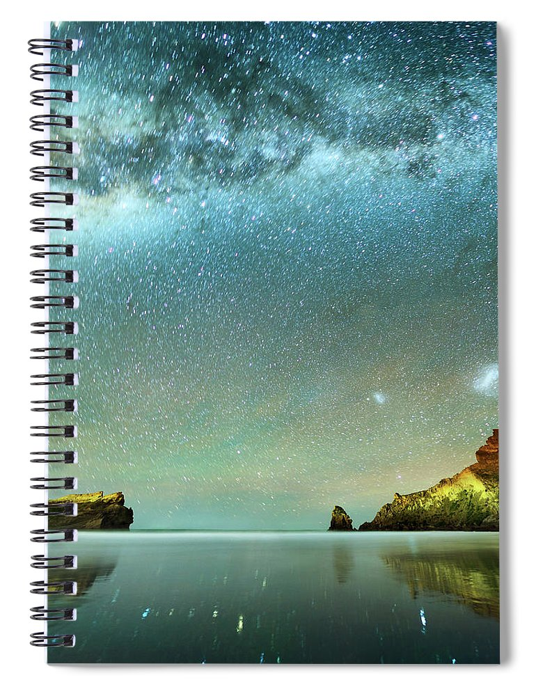 Galaxy Spiral Notebook featuring the photograph Long Exposure Of Stars by Piskunov
