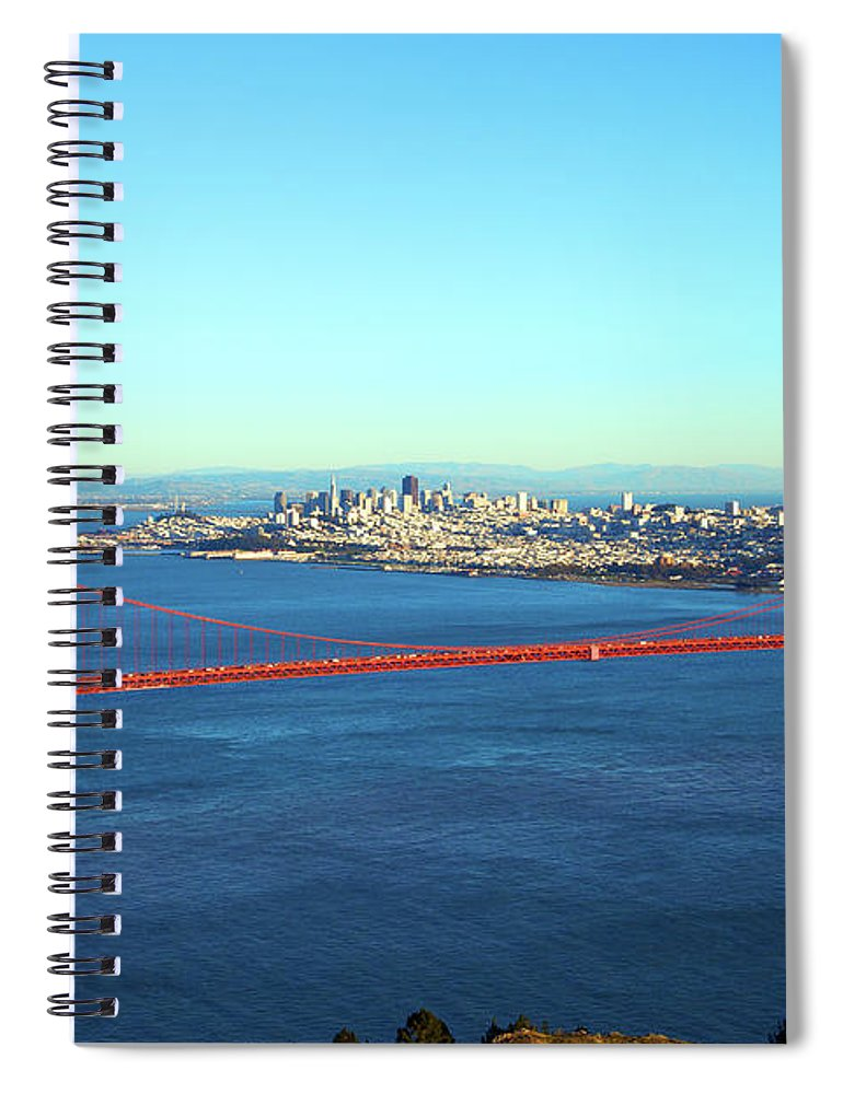 Downtown District Spiral Notebook featuring the photograph Looking Down At The San Francisco Bridge by Ekash
