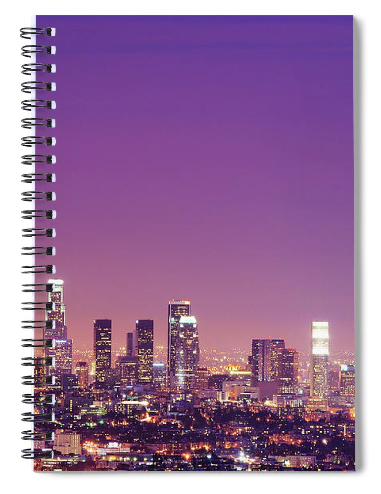 Clear Sky Spiral Notebook featuring the photograph Los Angeles At Dusk by Dj Murdok Photos