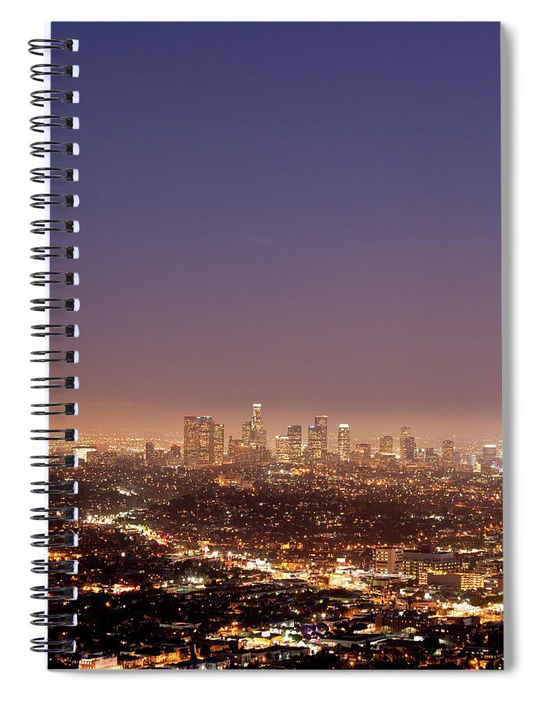 Scenics Spiral Notebook featuring the photograph Los Angeles Skyline At Twilight by Uschools