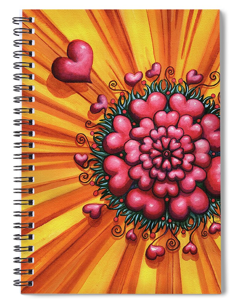 Hearts Spiral Notebook featuring the painting Love Blossom by Catherine G McElroy
