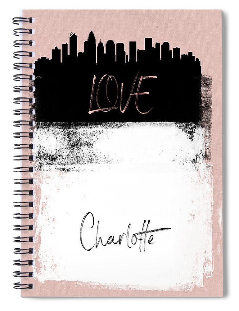 Charlotte Spiral Notebook featuring the mixed media Love Charlotte by Naxart Studio