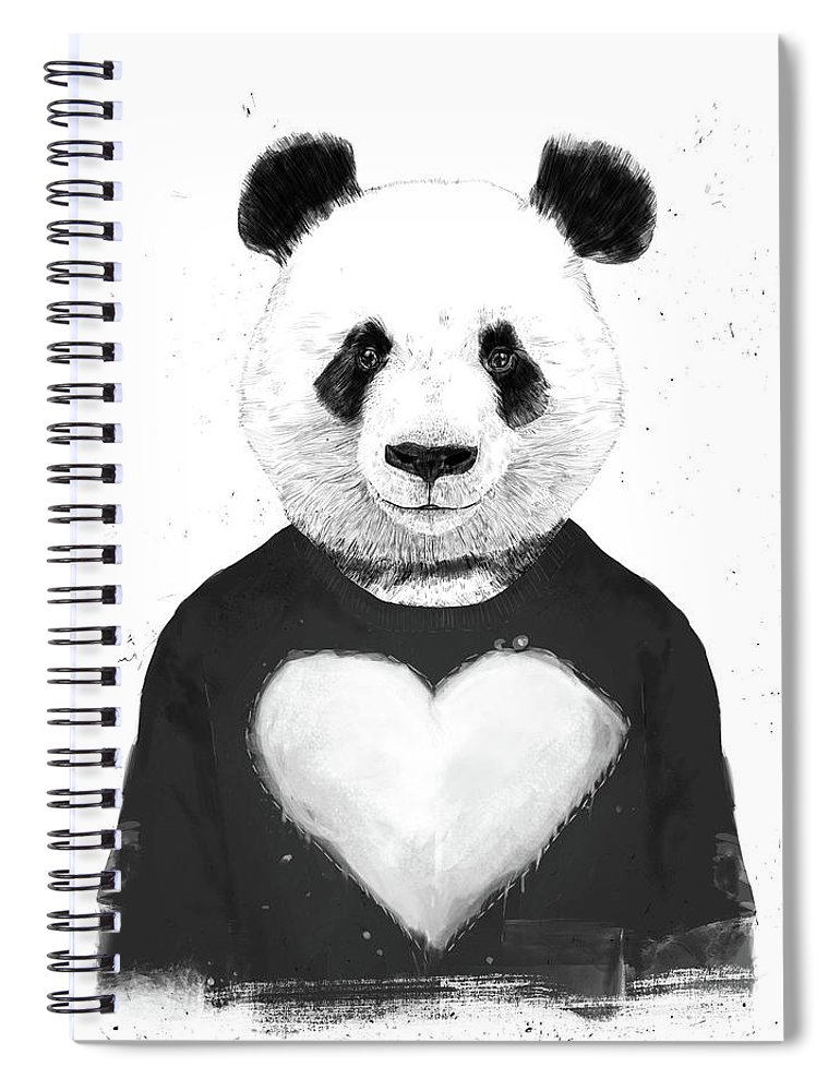 Panda Spiral Notebook featuring the mixed media Lovely Panda by Balazs Solti
