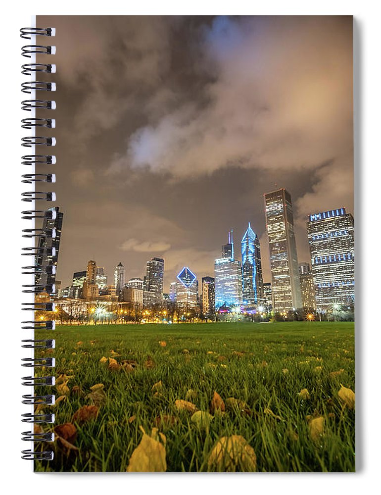 Downtown Spiral Notebook featuring the photograph Low Angle Picture Of Downtown Chicago Skyline During Winter Nigh by PorqueNo Studios