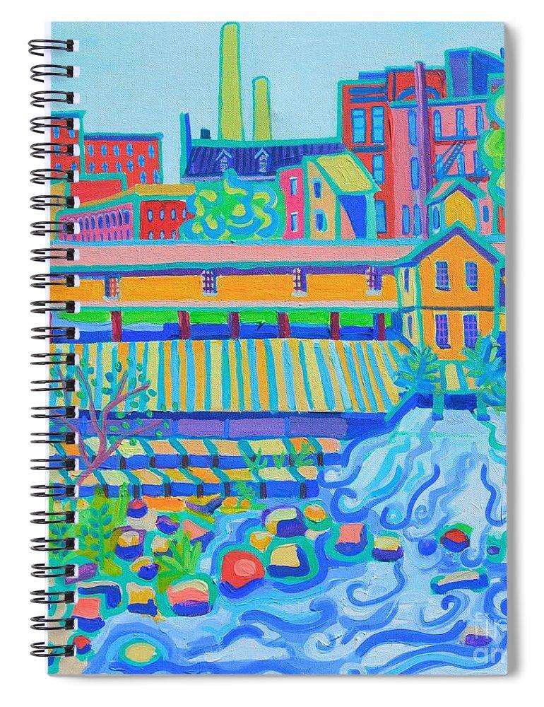 Locks Spiral Notebook featuring the painting Lower Locks Lowell by Debra Bretton Robinson