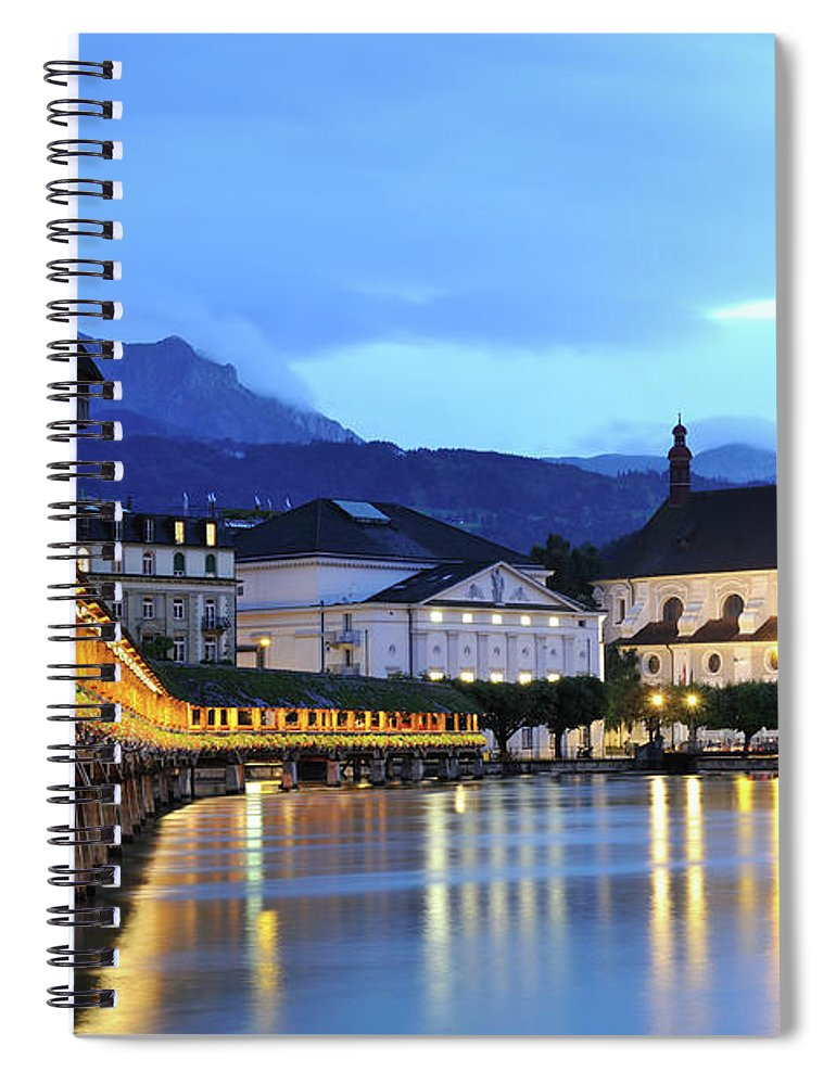 Built Structure Spiral Notebook featuring the photograph Lucerne At Dusk by Aimintang