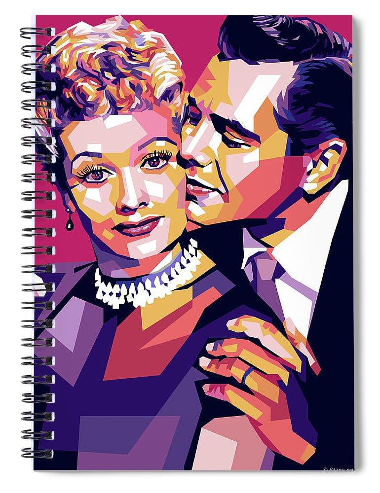 Lucille Spiral Notebook featuring the digital art Lucille Ball And Desi Arnaz by Stars on Art