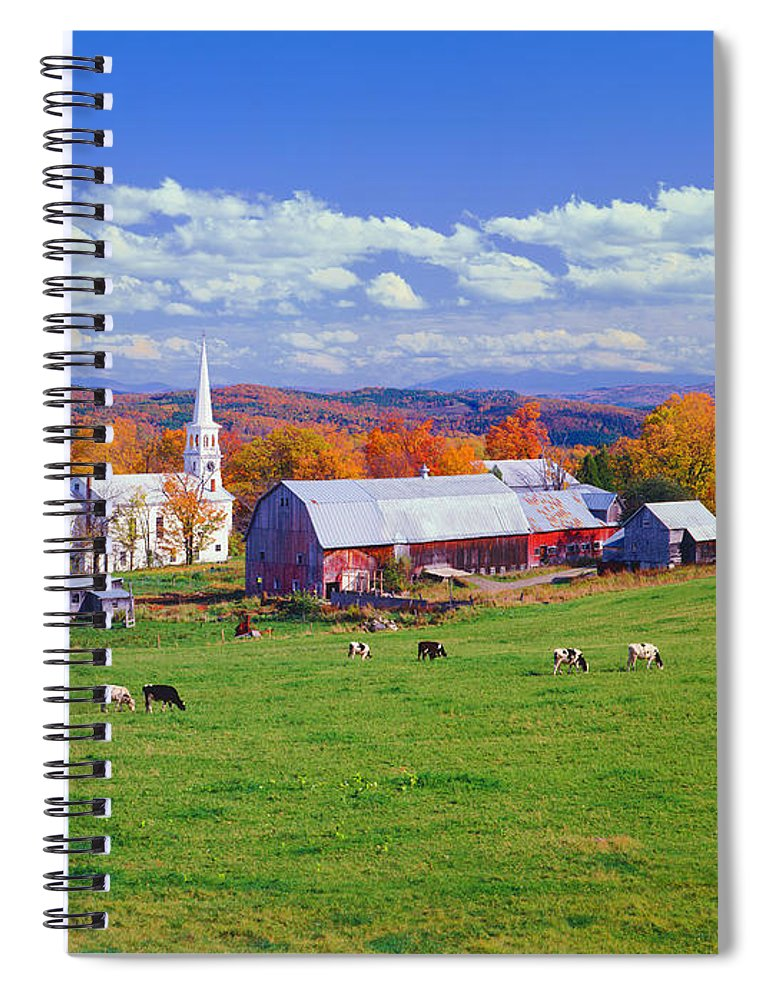 Scenics Spiral Notebook featuring the photograph Lush Autumn Countryside In Vermont With by Ron thomas