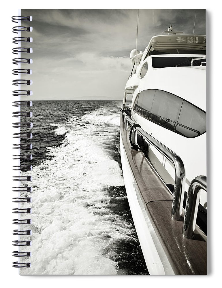 Desaturated Spiral Notebook featuring the photograph Luxury Yacht Sailing At High Speed In by Petreplesea