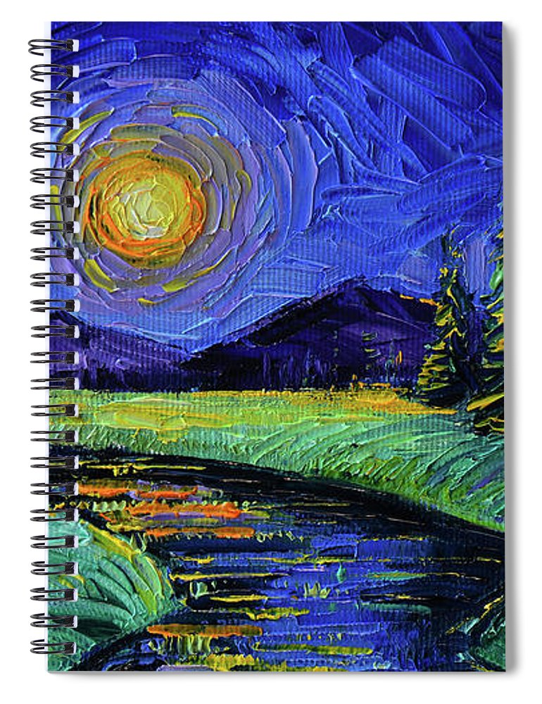 Magic Night Spiral Notebook featuring the painting Magic Night - Detail 1 - Fantasy Landscape by Mona Edulesco