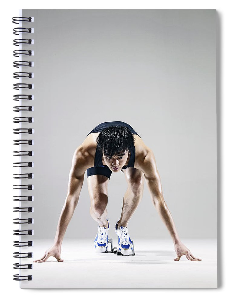 People Spiral Notebook featuring the photograph Male Runner In Starting Blocks by Ting Hoo