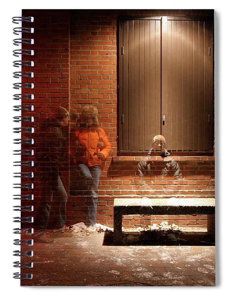 Mature Adult Spiral Notebook featuring the photograph Man And Woman Leaning Against A Brick by Lori Andrews