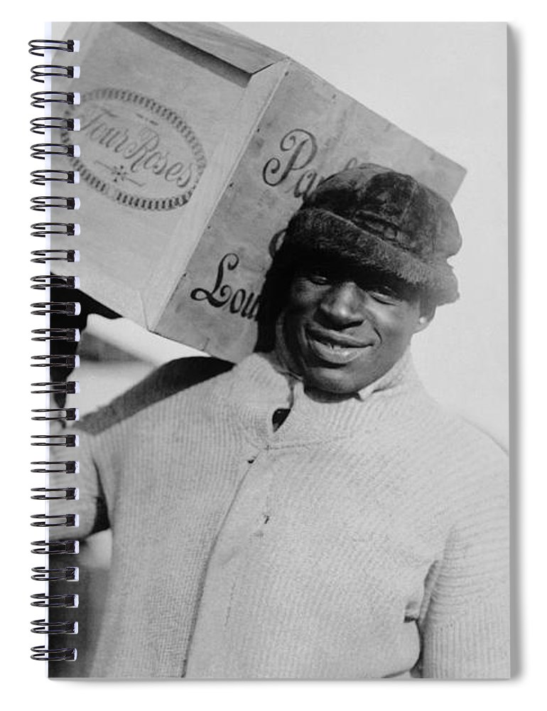 Prohibition Spiral Notebook featuring the photograph Man Carrying A Case Whiskey - Prohibition Era by War Is Hell Store