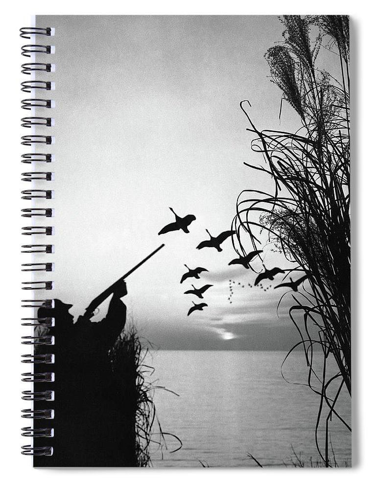 Rifle Spiral Notebook featuring the photograph Man Duck-hunting by Stockbyte