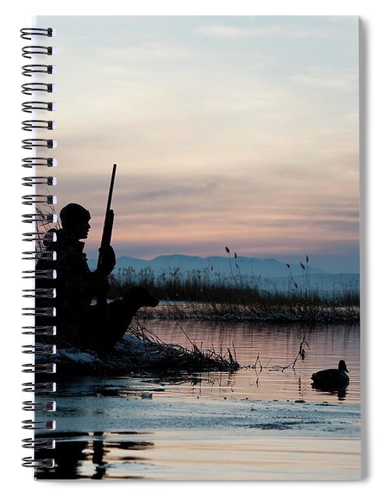 Rifle Spiral Notebook featuring the photograph Man Out Hunting by Rubberball Productions