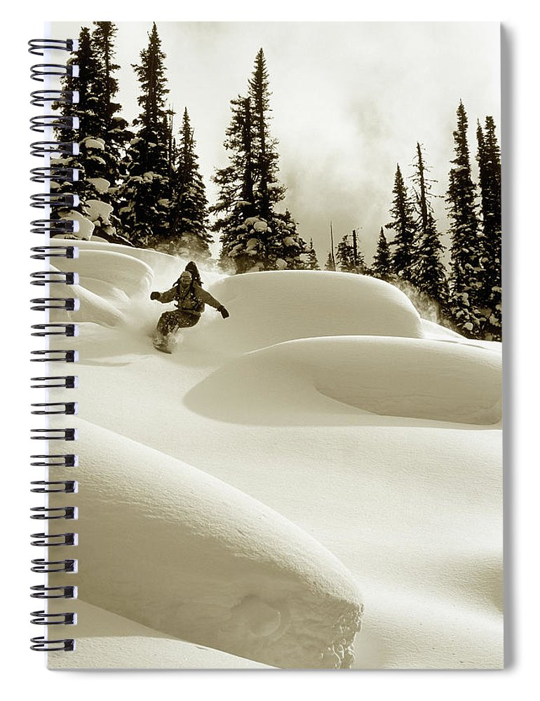 One Man Only Spiral Notebook featuring the photograph Man Snowboarding B&w Sepia Tone by Per Breiehagen