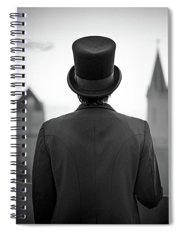 People Spiral Notebook featuring the photograph Man Standing Front Of Cathedral by Eddie O'bryan