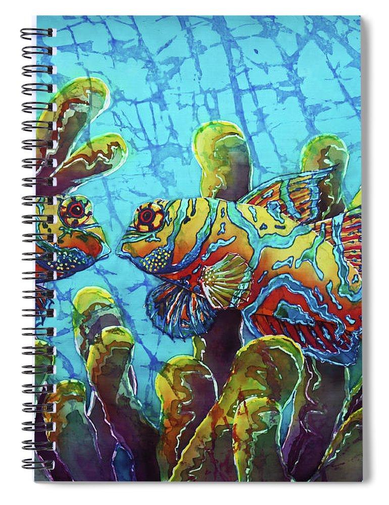 Mandarinfish Spiral Notebook featuring the painting Mandarinfish by Sue Duda