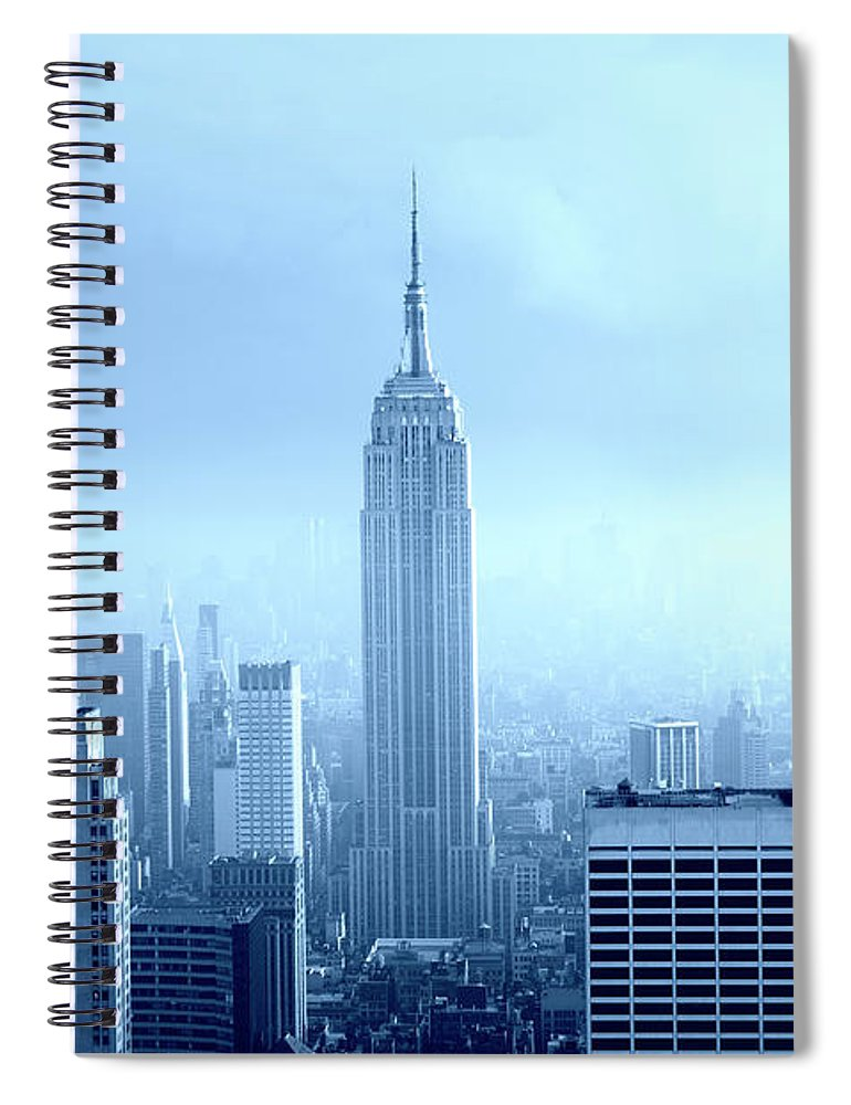 Lower Manhattan Spiral Notebook featuring the photograph Manhattan Skyline In The Fog, Nyc. Blue by Lisa-blue