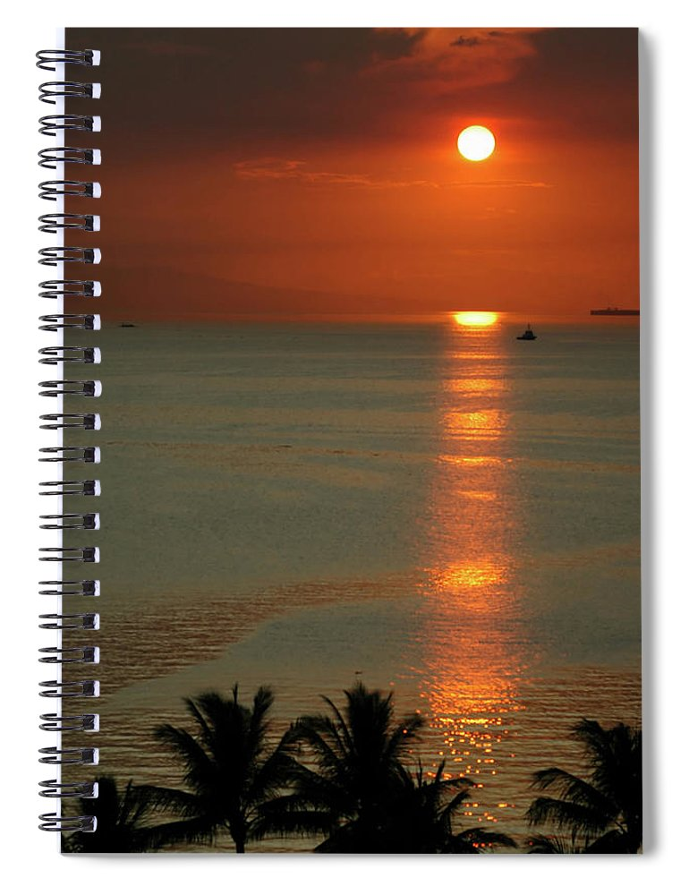 East Spiral Notebook featuring the photograph Manila Bay Sunset by Vanwyckexpress