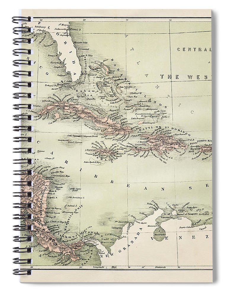 Barbados Spiral Notebook featuring the digital art Map Od The Caribbean 1860 by Thepalmer