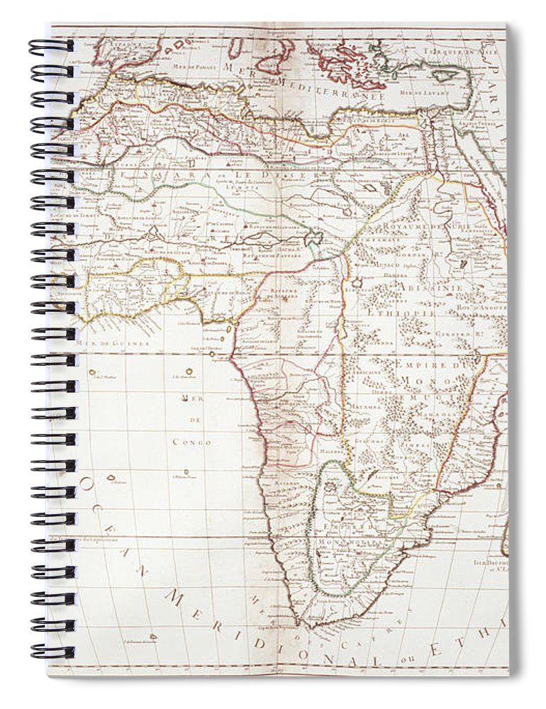 Color Image Spiral Notebook featuring the digital art Map Of Africa by Fototeca Gilardi
