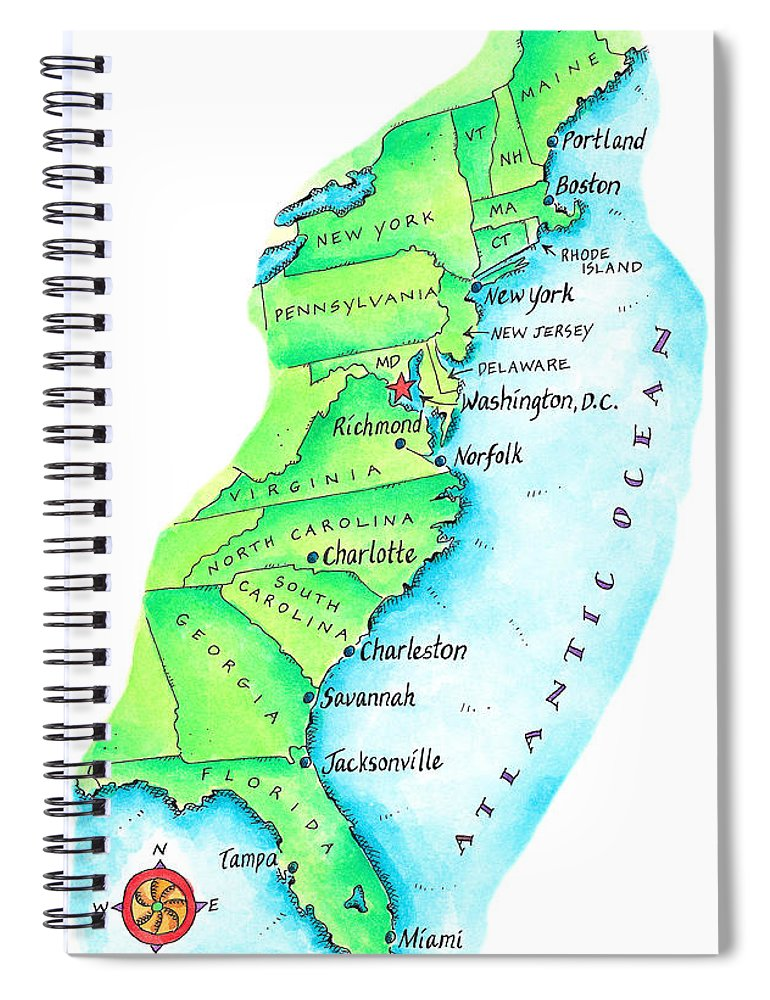 Watercolor Painting Spiral Notebook featuring the digital art Map Of American East Coast by Jennifer Thermes