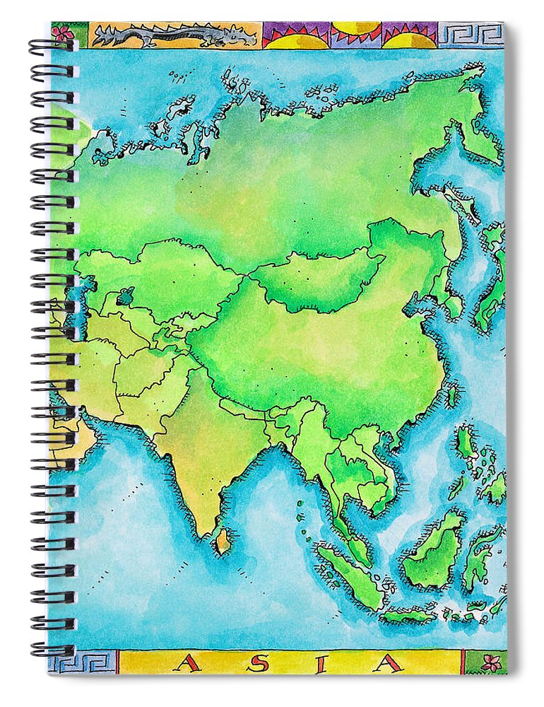 Watercolor Painting Spiral Notebook featuring the digital art Map Of Asia by Jennifer Thermes