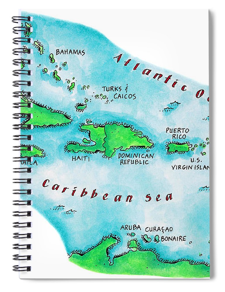 Watercolor Painting Spiral Notebook featuring the digital art Map Of Caribbean Islands by Jennifer Thermes