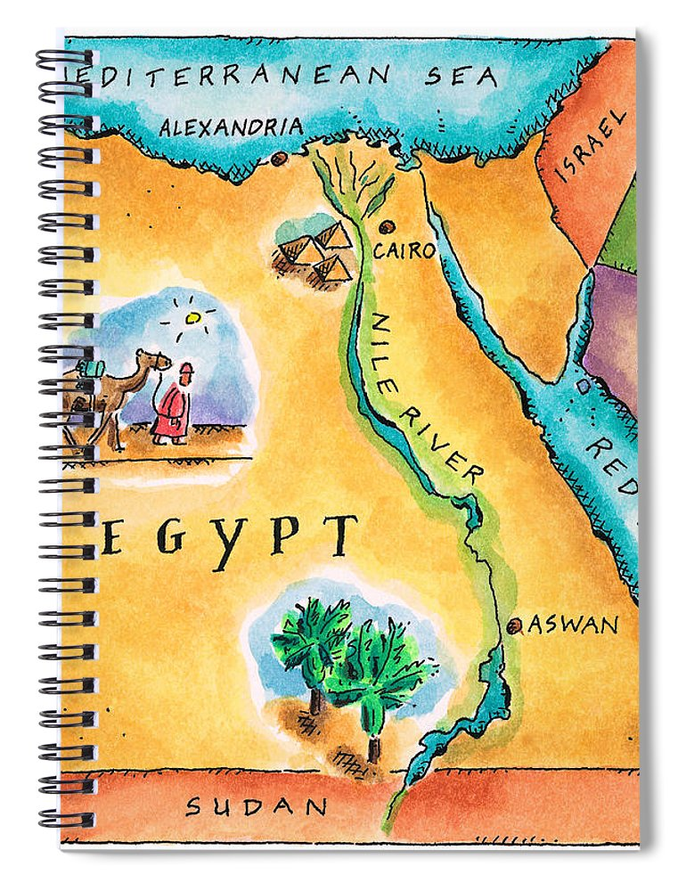 Watercolor Painting Spiral Notebook featuring the digital art Map Of Egypt by Jennifer Thermes