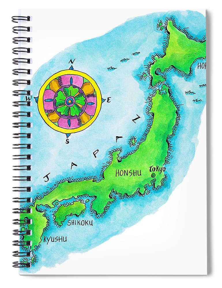 Hokkaido Spiral Notebook featuring the digital art Map Of Japan by Jennifer Thermes