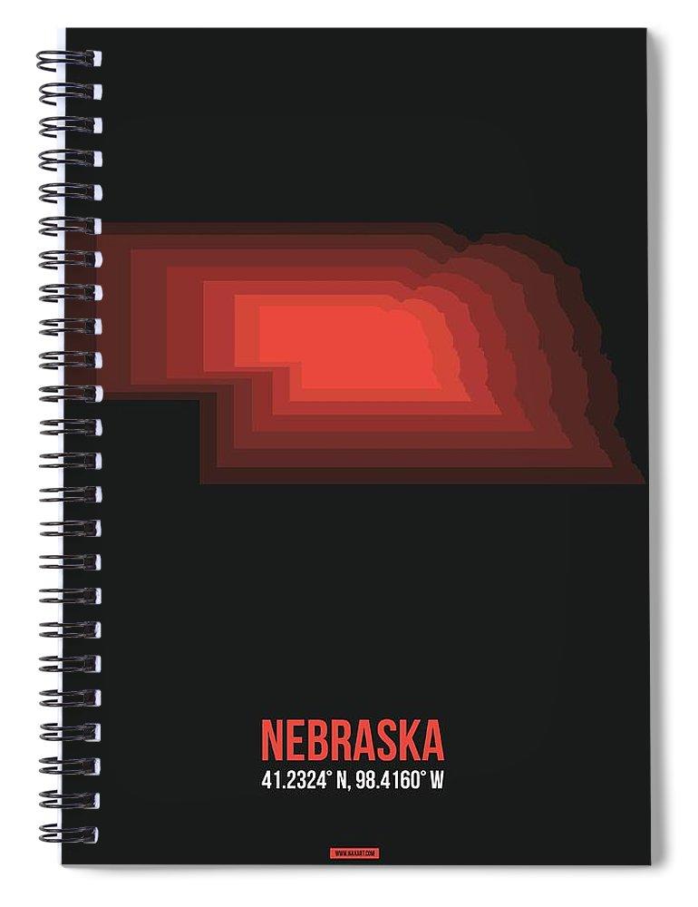 Nebraska Spiral Notebook featuring the digital art Map Of Nebraska 3 by Naxart Studio