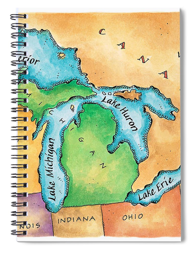 Lake Michigan Spiral Notebook featuring the digital art Map Of The Great Lakes by Jennifer Thermes