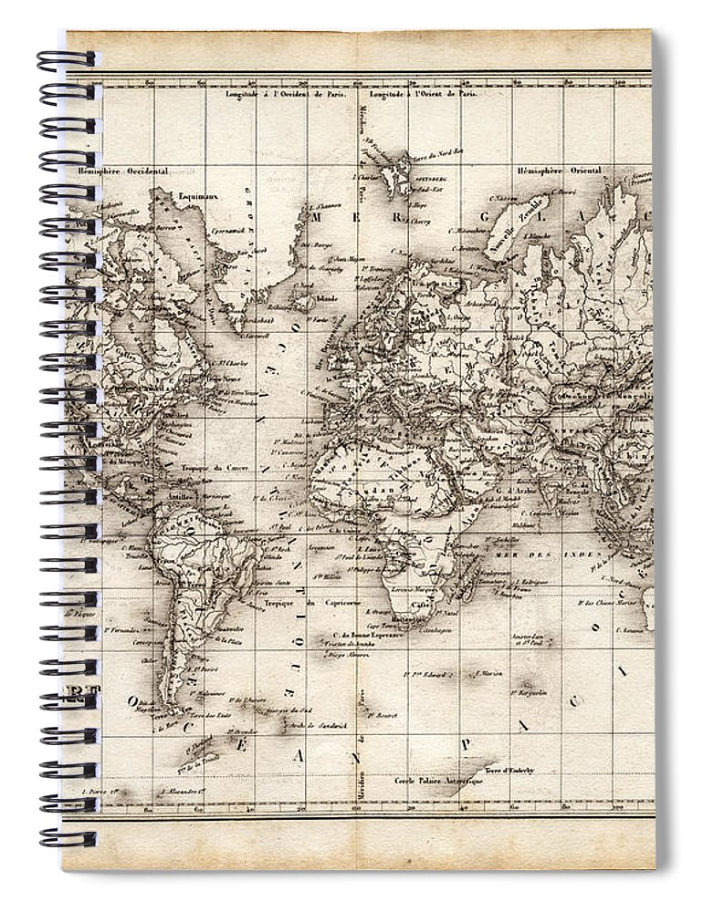 Oceania Spiral Notebook featuring the digital art Map Of The World 1842 by Thepalmer