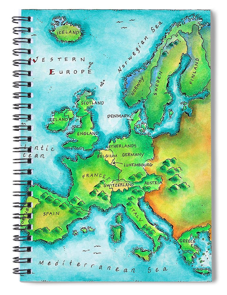 Watercolor Painting Spiral Notebook featuring the digital art Map Of Western Europe by Jennifer Thermes