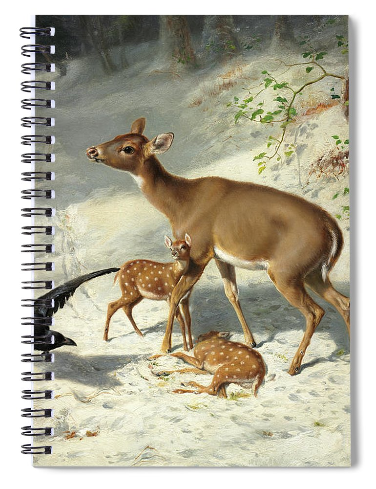 Arthur Fitzwilliam Tait Spiral Notebook featuring the painting Maternal Solicitude, 1873 by Arthur Fitzwilliam Tait