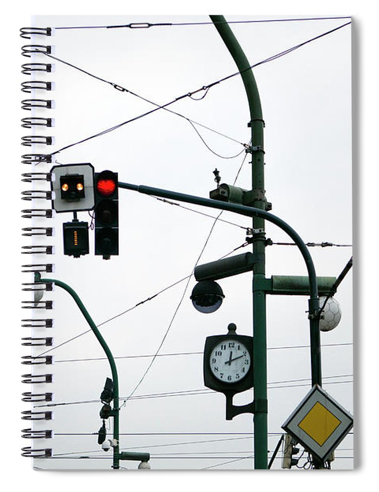 Confusion Spiral Notebook featuring the photograph Maze Of Cabling by Julio Lopez Saguar