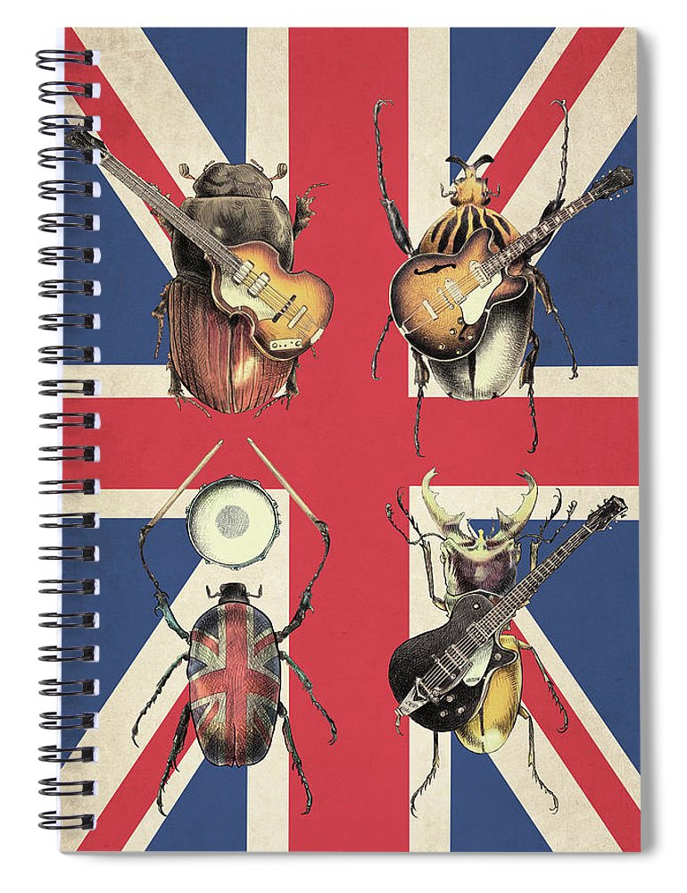Flag Spiral Notebook featuring the drawing Meet the Beetles - Union Jack by Eric Fan