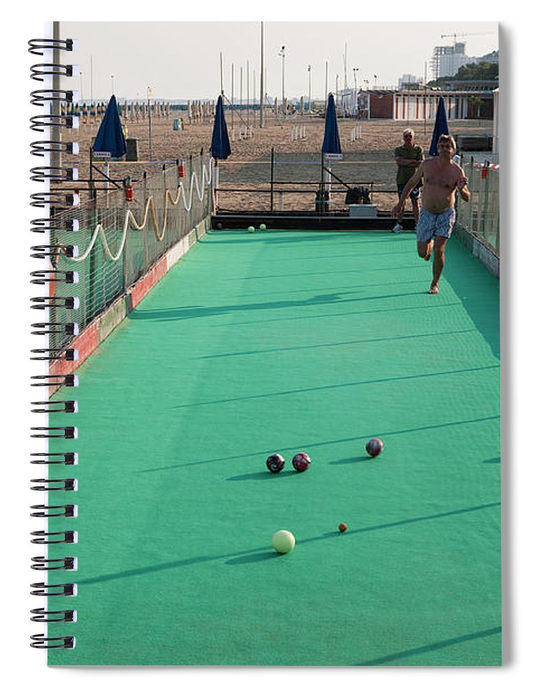 Mature Adult Spiral Notebook featuring the photograph Men Play Boccia At Beach by Holger Leue