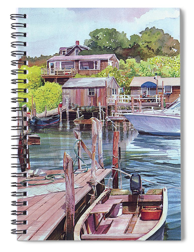 Visco Spiral Notebook featuring the painting Menemsha Harbor by P Anthony Visco