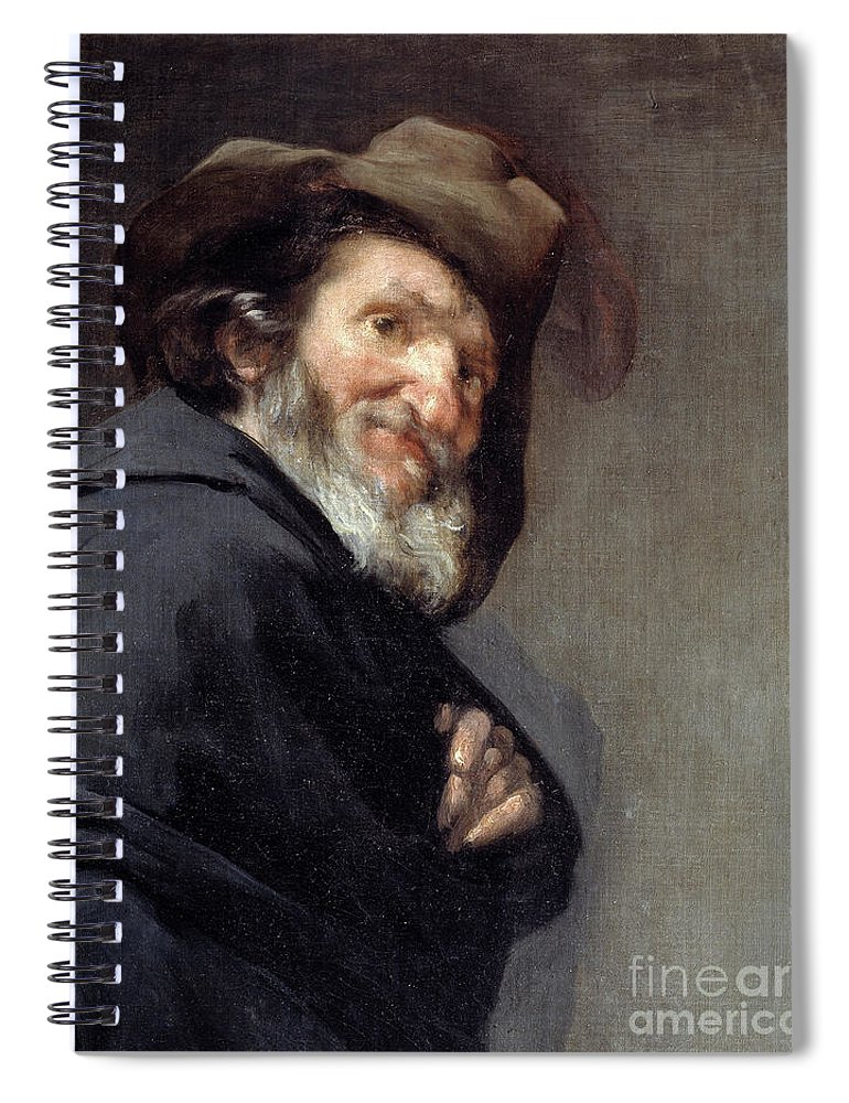 Menippus Spiral Notebook featuring the painting Menippus, Greek Poet And Philosopher Of The Cynical School by Diego Rodriguez De Silva Y Velazquez