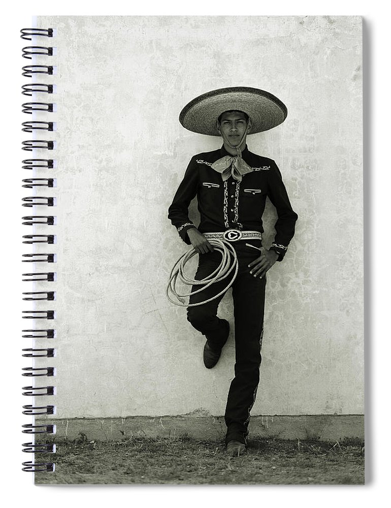 Cool Attitude Spiral Notebook featuring the photograph Mexican Cowboy Wearing Hat And Holding by Terry Vine